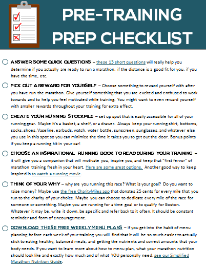 Tell Me Where To Send Your Pre Training Checklist Ensure That You Have Everything Together And Are Prepared For Marathon Journey
